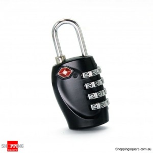 TSA Approved 4-Dial Luggage Lock Pad 4-Digit Combination Black Colour