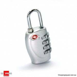 TSA Approved 4-Dial Luggage Lock Pad 4-Digit Combination Silver Colour