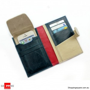 Travel Wallet Leather Passport Holder cover case for IPHONE ipod blue Colour