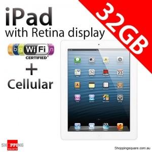 Apple iPad with Retina display 4th Gen 32GB Wifi + Cellular White, iPad 4