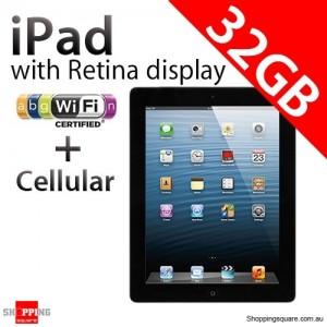 Apple iPad with Retina display 4th Gen 32GB Wifi + Cellular Black, iPad 4