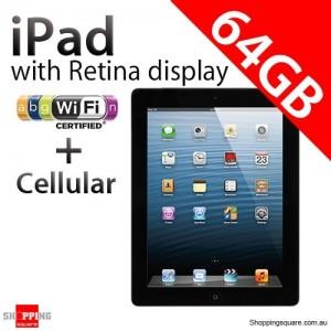 Apple iPad with Retina display 4th Gen 64GB Wifi + Cellular Black, iPad 4