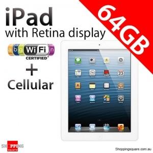 Apple iPad with Retina display 4th Gen 64GB Wifi + Cellular White, iPad 4