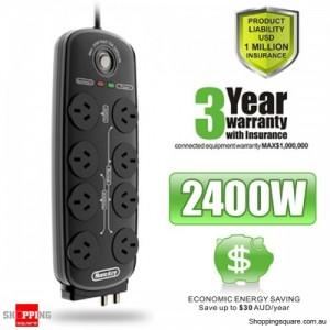 Huntkey 8 Way Power Surge Protector, Black (PAA803)