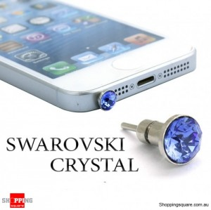 6 mm SWAROVSKI Crystal iPhone Audio Jack Dust Proof Plug with SIM Card Eject Pin - Sapphire