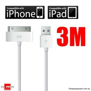 3 Metre iPhone 4 4S Long USB Data Sync Charger Cable 4 iPad iPod 10ft