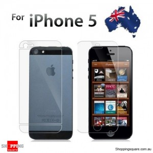 Dual iPhone 5S, 5C, 5 Screen Protector Clear (Front & Back)