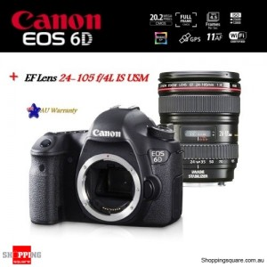 Canon EOS 6D DSLR 20.2 MP + EF 24-105mm f/4L IS USM Lens Camera Kit