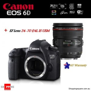 Canon EOS 6D DSLR 20.2MP with EF 24-70mm f/4L IS USM Lens Camera Kit