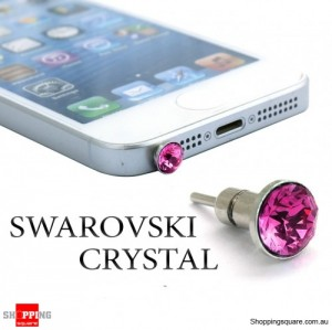 6mm SWAROVSKI Crystal iPhone Audio Jack Dust Proof Plug with SIM Card Eject Pin - Rose