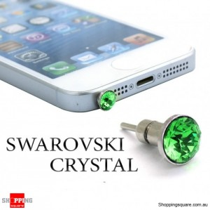 6mm SWAROVSKI Crystal iPhone Audio Jack Dust Proof Plug with SIM Card Eject Pin - Green