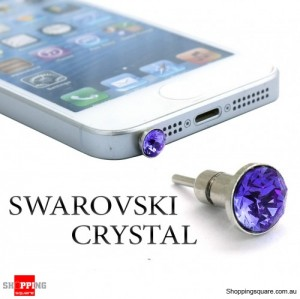 6 mm SWAROVSKI Crystal iPhone Audio Jack Dust Proof Plug with SIM Card Eject Pin - Violet