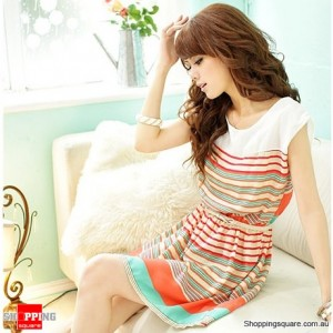 Colourful Stripes White Bowknot Mini Chiffon Dress with Bonus Belt