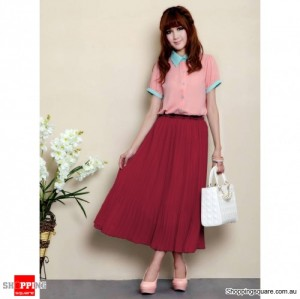 Women Double Layer Chiffon Pleated Retro Long Elastic Waist Dress Red Colour