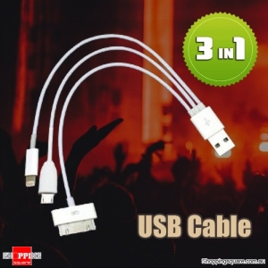 3 in1 USB charging cable for apple iphone 3GS 4 4S 5C 5S 5 ipad 2 3 4 mini Samsung HTC
