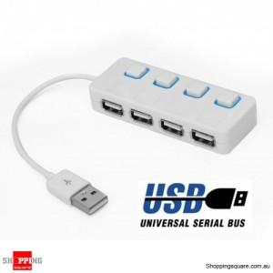 4 Port ON/OFF Switch USB HUB Hi-Speed White with LED