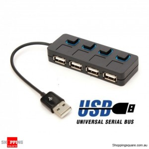 4 Port ON/OFF Switch USB HUB Hi-Speed Black with LED