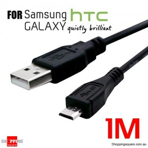 Premium 1m USB to Micro-USB Charging Data Cable Black for Samsung Galaxy OD4.2