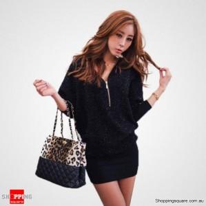 Sexy Ladies V-neck Zipper blouse Dress - Black Colour