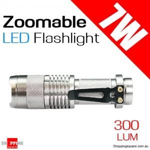 7W CREE Q5 Zoomable Waterproof Mini LED Flashlight Torch Light Lamp 300lum
