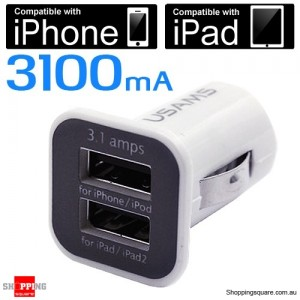 3.1Amp Dual Port USB Car Charger for iPad, iPhone 5S 5C 5, Android Smart Phone and Tablet