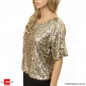 Celebrity Style Scoop Neck Off Shoulder Sequinned Top Size 10
