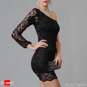 Sexy One Shoulder Lace Clubwear Mini Dresses One Size