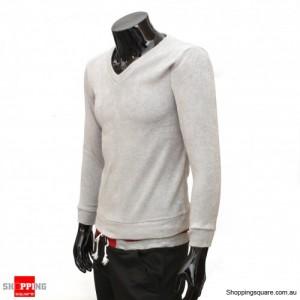 Mens V-neck Slim Fit Long Sleeve Knitwear Top Light Grey Size 8
