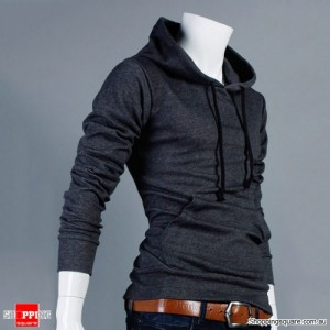 Mens Slim Fit Pullover Hoodie Dark Grey Colour Size 12