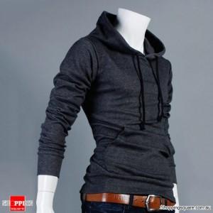 Mens Slim Fit Pullover Hoodie Dark Gray Size 14
