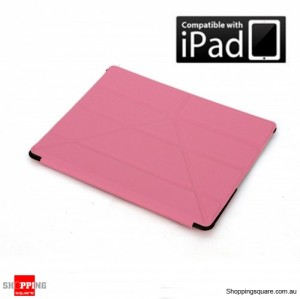 Transformers Smart Leather Cover back and front case for ipad 4, new ipad, ipad2 Pink Colour