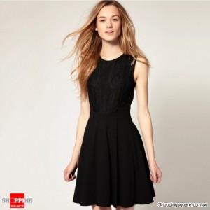 Woman's Round Collar Lace Mini Dress Black Colour Size 12