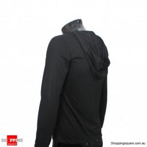 Mens Stylish Slim Fit Hoody Shirts Black Size 10