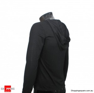 Mens Slim Fit Long Sleeve Hoody Tops Shirt Black Size 12