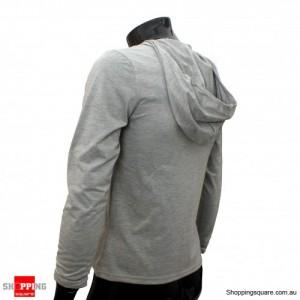 Mens Stylish Slim Fit Hoody Shirts Gray Size 8