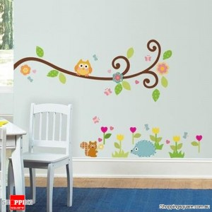 Owl Tree Art Decal Removable Vinyl Stickers kids bedroom Nursery Decor