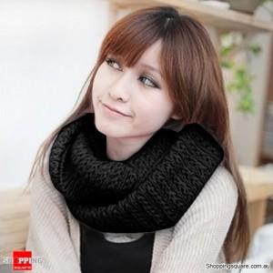 Women Knitted Loop Circular Scarf Black Colour