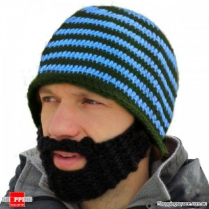 Handmade Mustache Mask Face Ski Cap blue Colour
