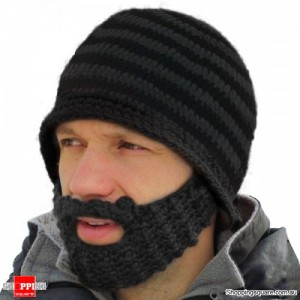 Handmade Mustache Mask Face Ski Cap Gray Colour