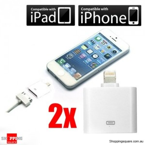 2x 8pin Lightning to 30pin Adapter Data synchronize iPhone 5 ipod 5 Nano iPad min