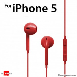 Earphone Earpods Remote MIC For Apple IPHONE 5S 5C 5 4S 4 Ipod Touch New IPAD 3 4 Mini Red Colour