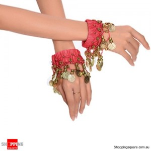 Belly Dance Gold Coin Bracelets Wrist, Ankle Chains Red Colour