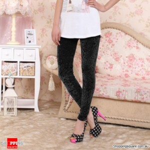 Hollow Casual Legging Tights Black Colour