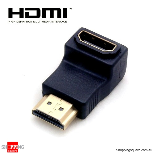 HDMI Male to Female Video 90 Degree Adapter - Black
