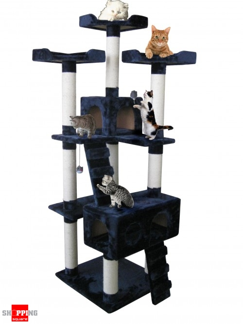Cat Tree Scratch Post Ladder Pet Bed Cubby House 7 Levels