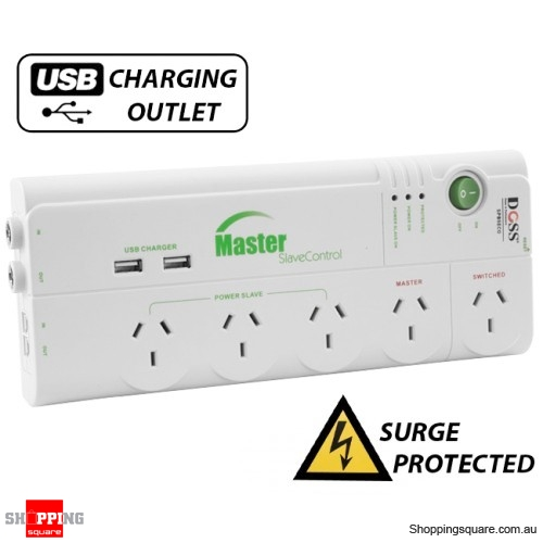 DOSS 5 Way Master Slave Power Saving Surge Protector Power Board with USB Charger