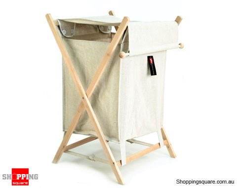 Single Laundry With Lid Hamper Canvas Wooden Frame Bathroom Accesory Shoppingsquare Australia