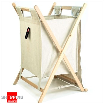 Foldable Laundry Hamper With Lid Canvas Wooden Frame Basket Online Shopping Shopping Square