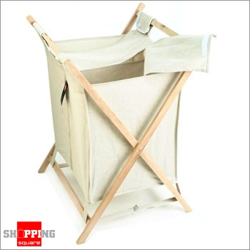 Foldable Double Laundry Hamper With Lid Canvas Wooden Frame Basket Online Shopping Shopping