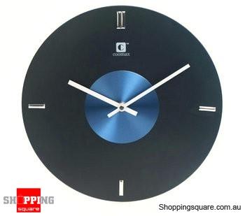 "Aluminum Phonograph Record Style 12"" Wall Clock, Silent Movement (Black)"